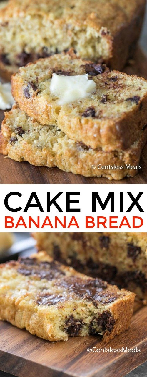 Cake Mix Banana Bread is one of the easiest banana bread recipes you'll ever try!  Just 4 simple ingredients including your add-ins, a quick mix and stir and you're on your way!