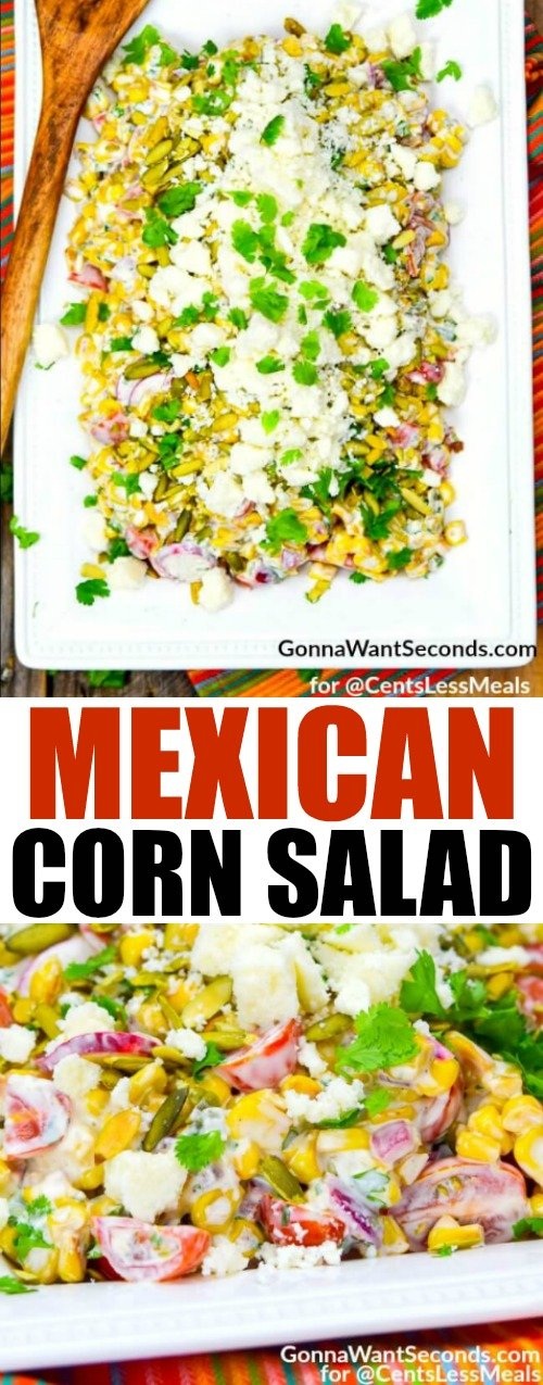 Mexican Corn Salad combines fresh veggies with a creamy cilantro cayanne dressing and topped with crumbled cotija to create a flavourful fiesta in every bite! It is truly a celebration of flavors!