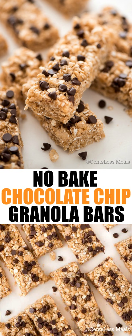 No bake chocolate chip granola bars on a marble board with a title