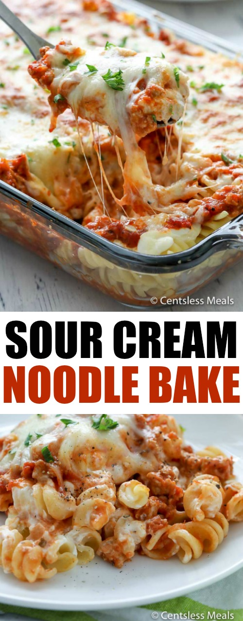 Sour cream noodle bake on a plate and in a dish with a spoon and with a title