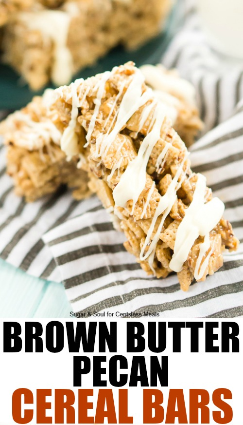These Brown Butter Pecan Cereal Bars are a delicious, no bake, treat loaded with nutty flavor and drizzled with white chocolate. It's an easy snack for kids and potlucks!