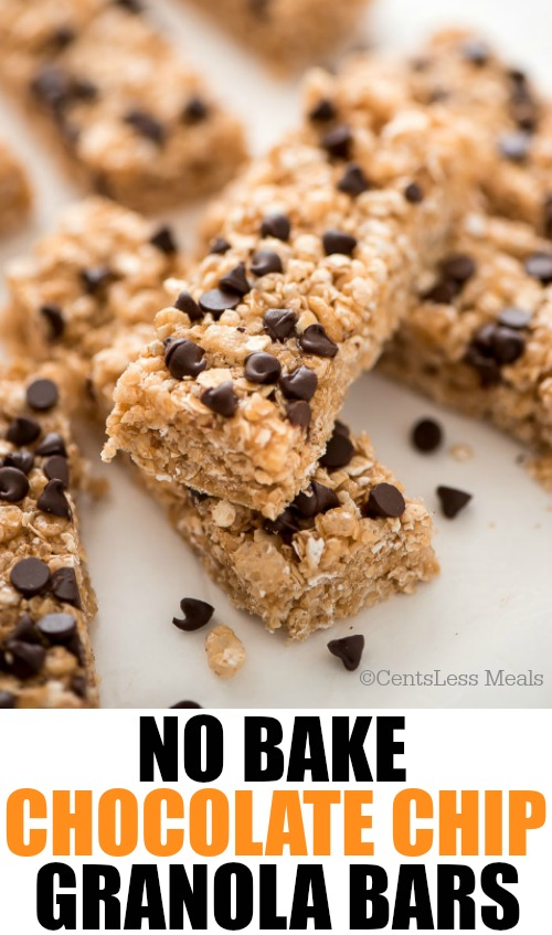 No bake chocolate chip granola bars in a pile with a title