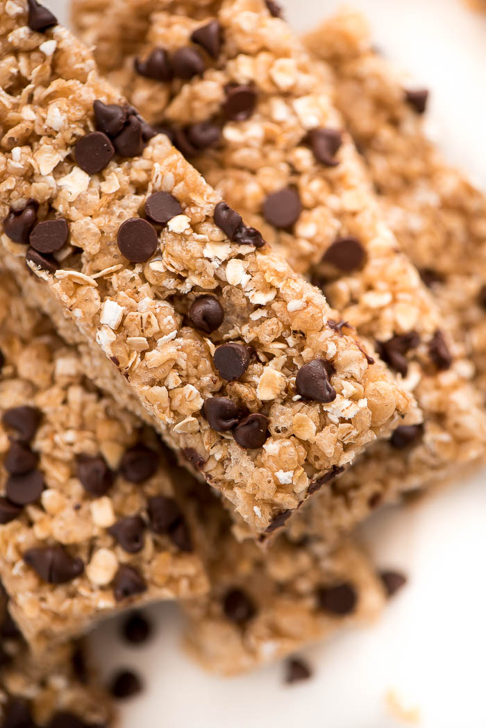 No bake chocolate chip granola bars in a pile