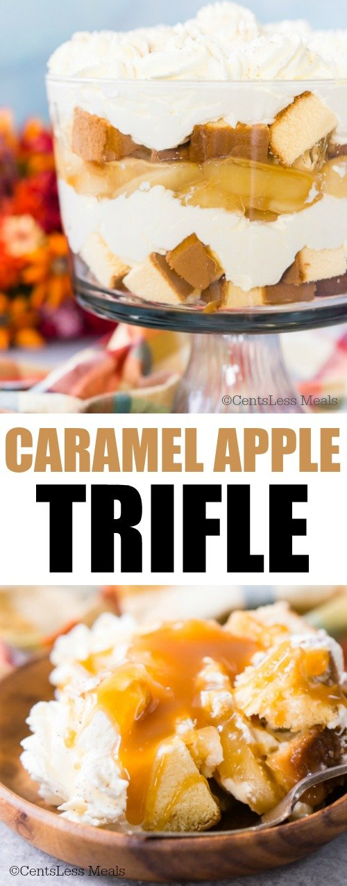 Caramel apple trifle in a dish and in a wooden bowl with a title