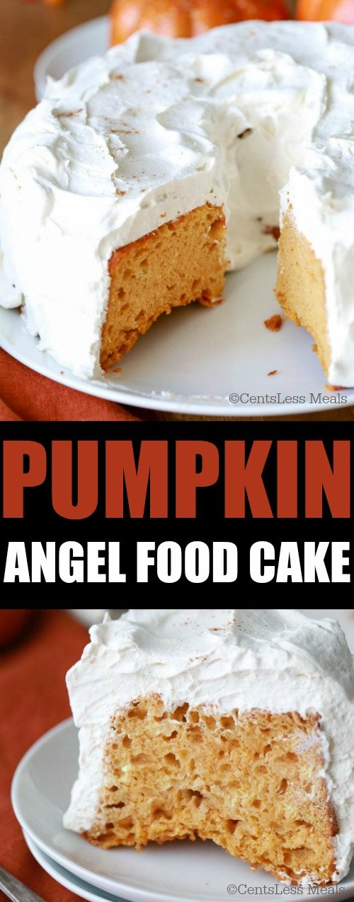 Pumpkin angel food cake on a plate with a title