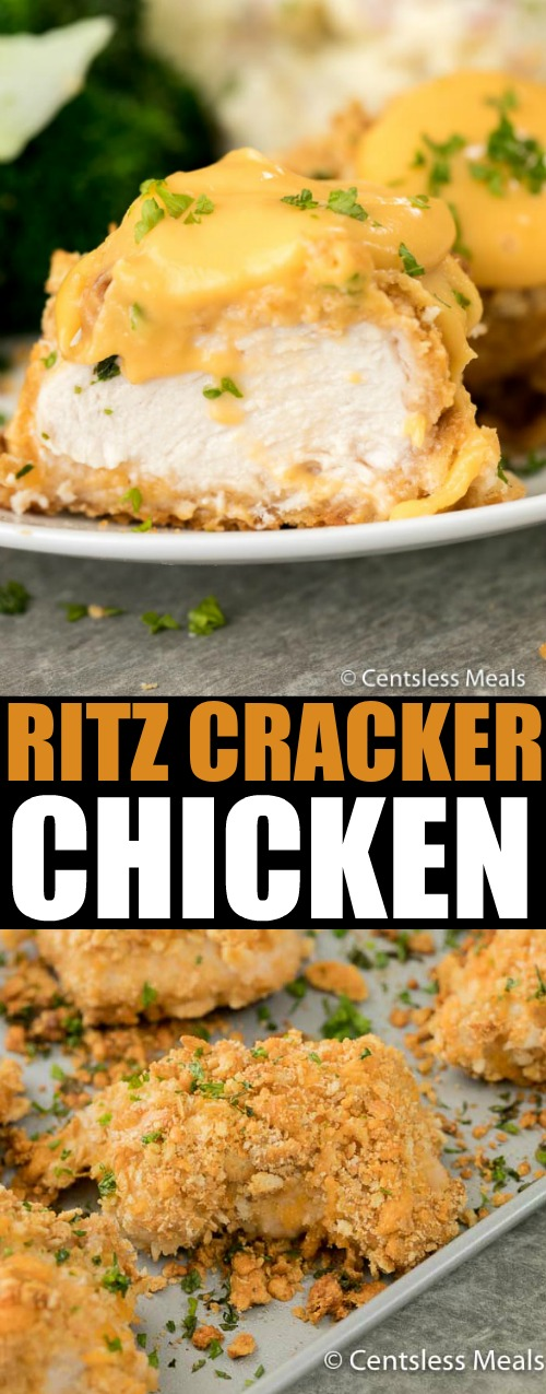 Ritz cracker chicken on a sheet pan and on a plate with a title