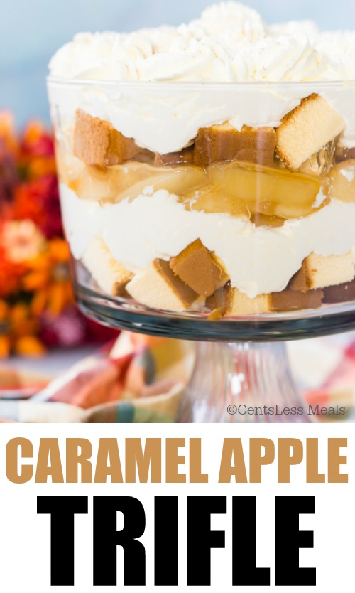 Caramel apple trifle in a dish with a title