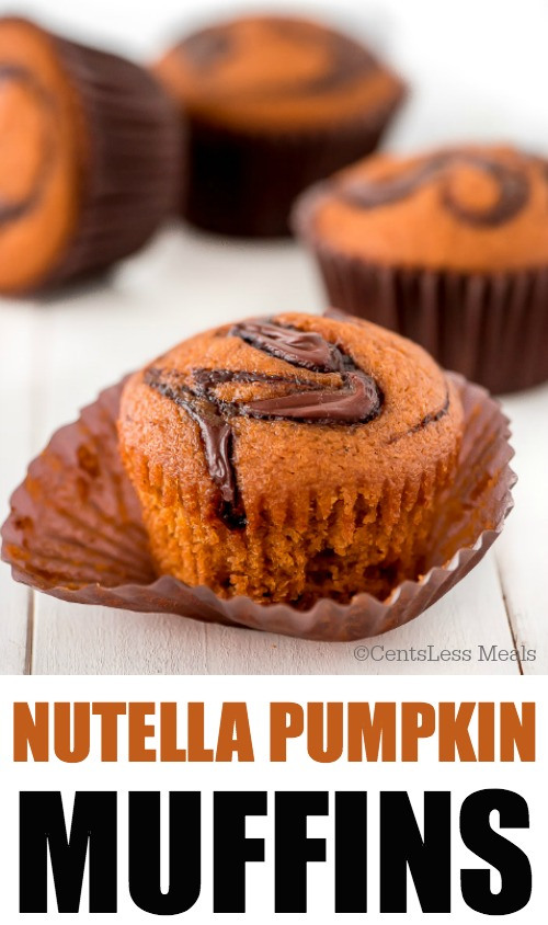 Super moist pumpkin muffins with swirls of Nutella on top and in the middle make these Nutella Pumpkin Muffins the ultimate pumpkin breakfast treat.
