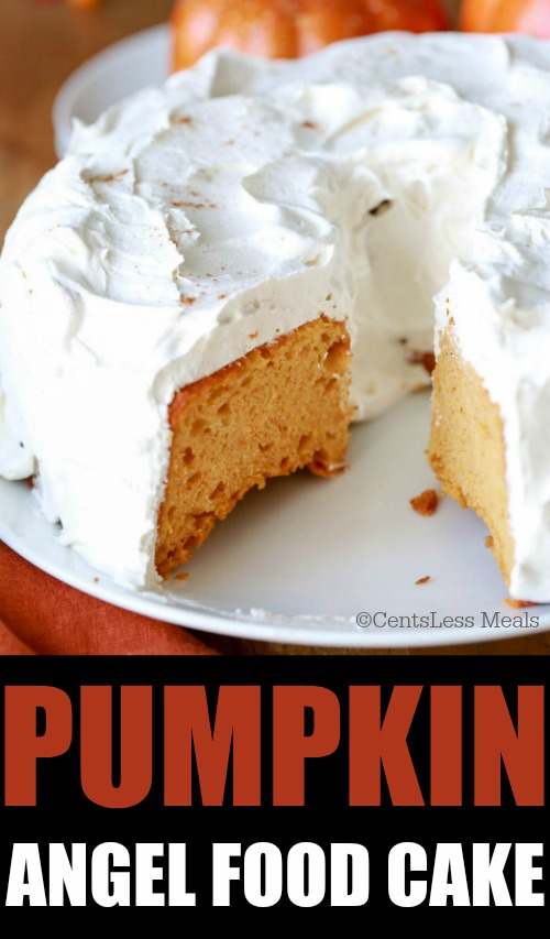 Pumpkin angel food cake on a plate with a piece taken out and a title