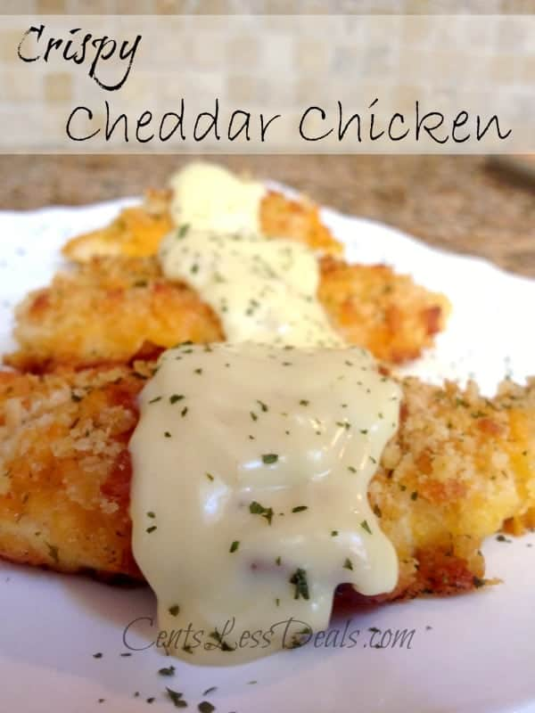 Crispy cheddar chicken shown with a title