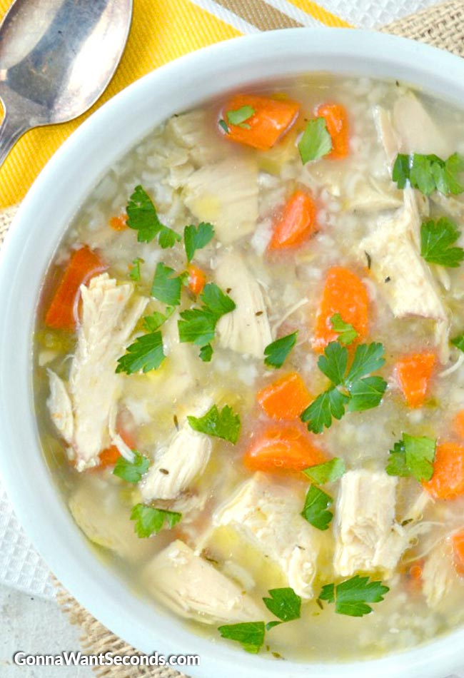 Easy Homey Chicken and Rice Soup with parsley on top