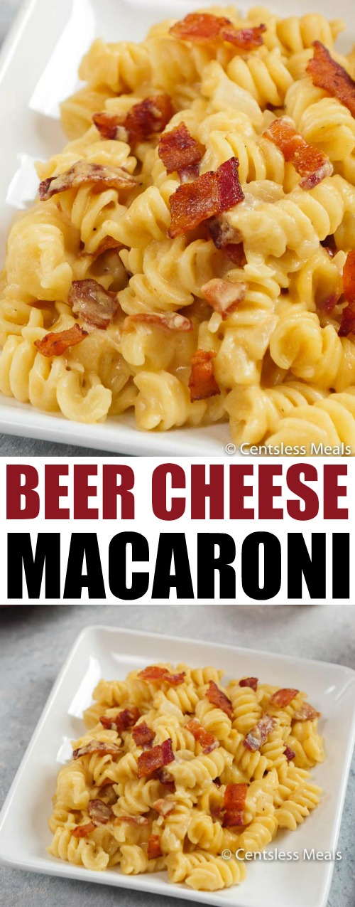 Beer Cheese Sauce tossed with tender pasta and smoky crisp bacon.  This mac and cheese recipe is going to be a staple in your dinner plans!