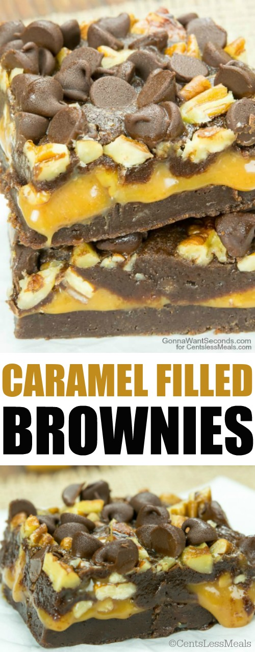 Caramel Brownies is a deliciously decadent dessert oozing with caramel, encased in a moist brownie and topped with chocolate chips and pecans. In a word, delectable!
