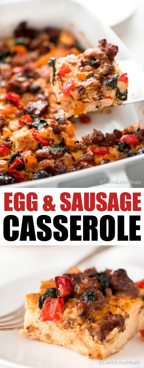 Prep this Egg and Sausage Breakfast Casserole at night and wake up to a delicious and filling savory breakfast that the whole family will enjoy.
