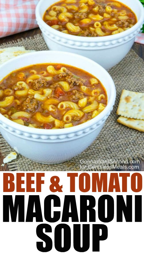 Two white balls of beef and tomato macaroni soup with crackers and a title