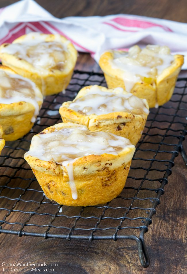 2 Ingredient Apple Pie Cups on a cooling rack