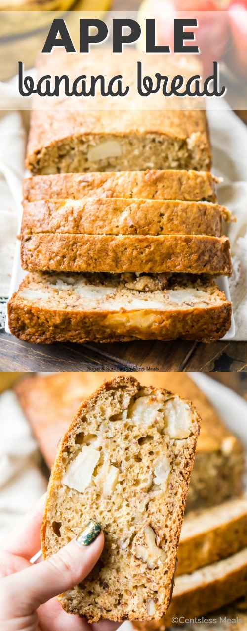 This Apple Banana Bread is loaded with fall flavor! Made with ripe bananas, apple chunks, and chopped walnuts, you'll find this snack bread easy and addictive. #BananaBread #RipeBananas #Loaf #Apples #Snack #Breakfast #Muffin #GreekYogurt #QuickBread