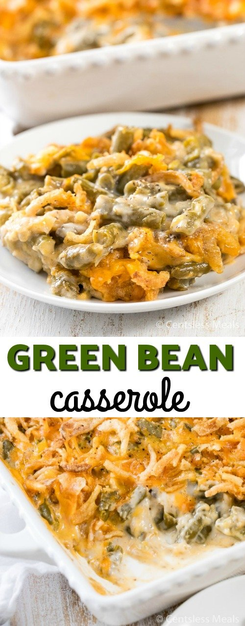 Green bean casserole in a casserole dish and on a plate with a title