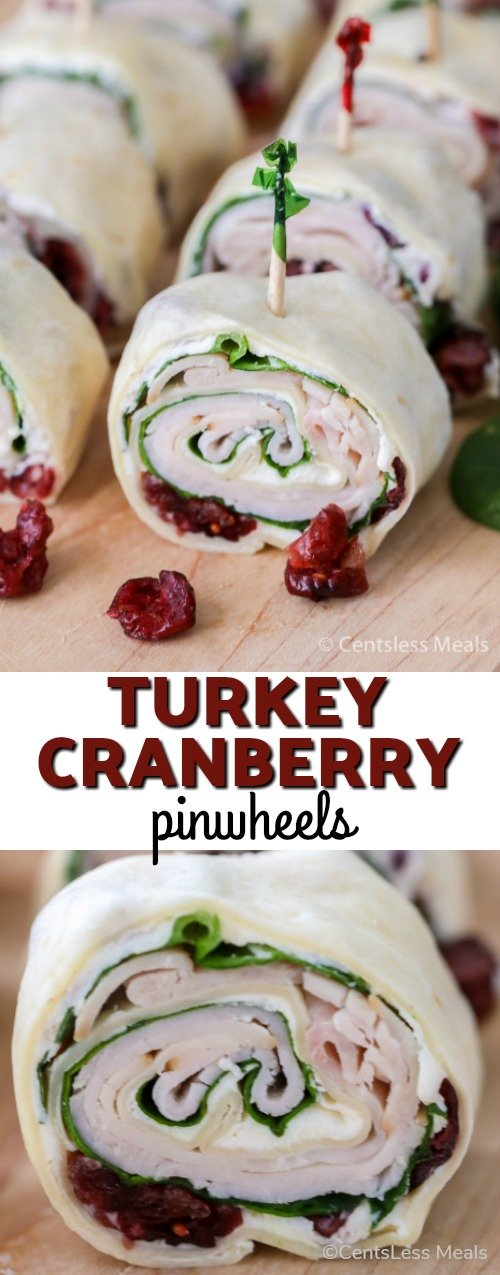 Turkey Cranberry Pinwheels combine your favorite festive trimmings such as turkey and cranberries all wrapped in a snug, tortilla blanket. It makes such a cheery and joyful snack you will love to serve and share this holiday season! #Wraps #Pinwheels #Appetizer #Holiday #Turkey #SpinachAppetizer #Cranberries
