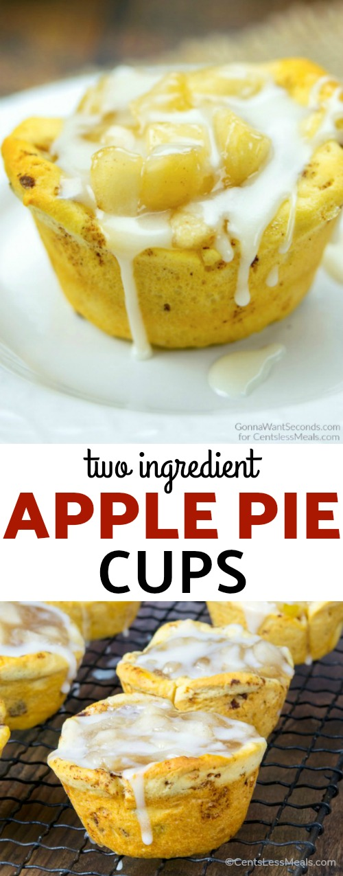 These Two Ingredient Apple Pie Cups transform just two, yes <em>two</em>, store-bought items into something share-worthy and sinfully scrumptious. They're bite-sized pastry perfection, and thankfully the jury's still out on exactly how many you can eat to equate roughly to an actual piece of pie. #ApplePie #PieFilling #Dessert #Snack #Breakfast #pastry #cinnamonrolls