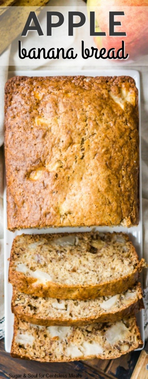 Apple Banana Bread sliced to serve