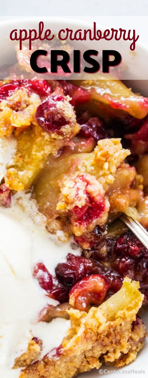 Made with apples, fresh cranberries and the most incredible streusel topping, this Apple-Cranberry Crisp makes the perfect comfort food for the holidays. #Apple #Cranberry #Dessert #HolidayDessert #Festive #Holiday
