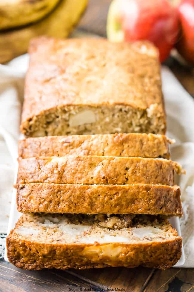 This Apple Banana Bread is loaded with fall flavor! Made with ripe bananas, apple chunks, and chopped walnuts, you'll find this snack bread easy and addictive.