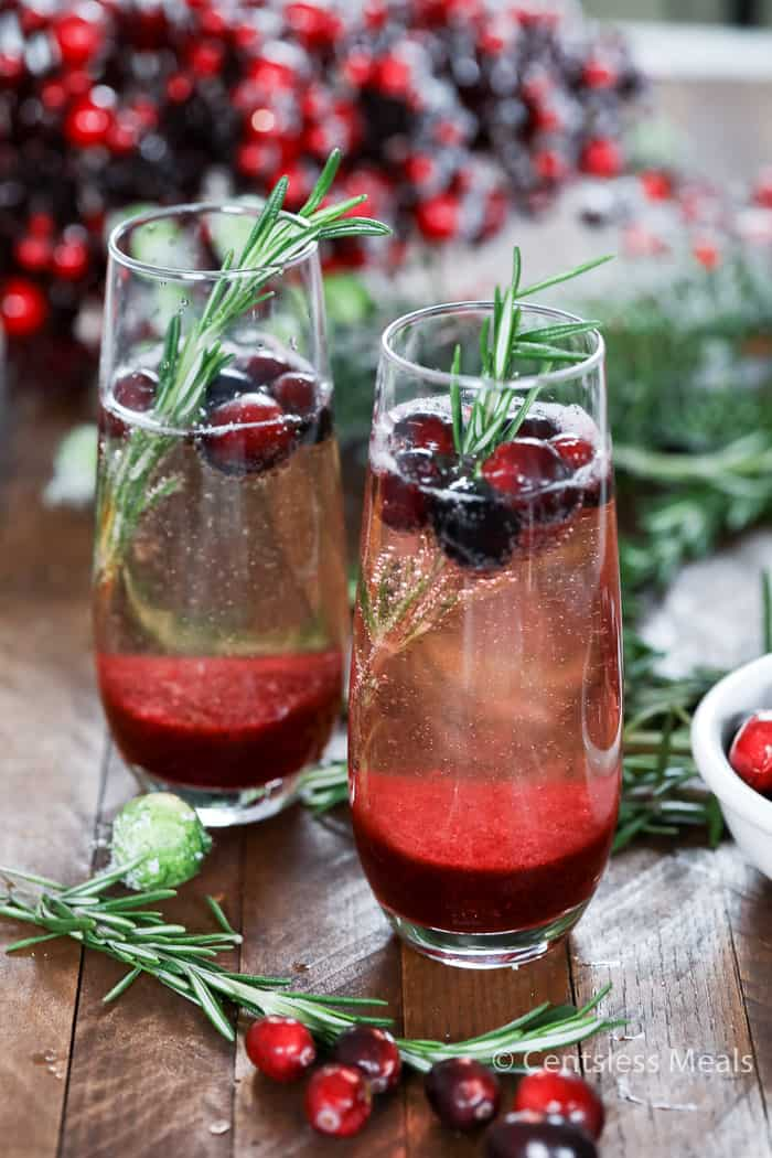 While a traditional mimosa is made with orange juice and champagne, this festive twist called Cranberry Mimosa is made with cranberry puree in place of orange juice. What a delicious holiday inspired libation!