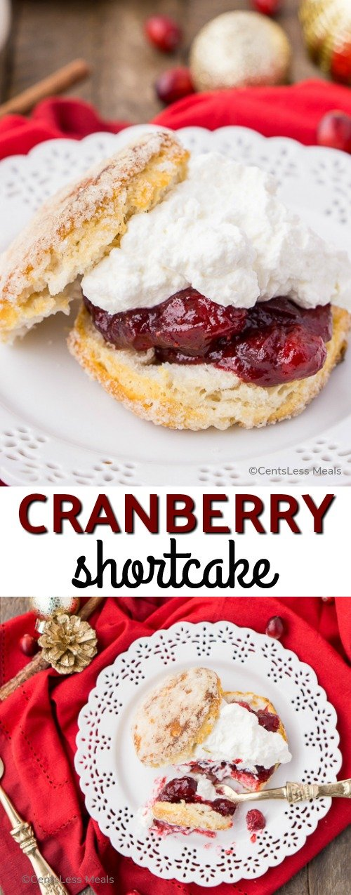 Cranberry Shortcake is a delectable dessert made with juicy, sweet-tart cranberries, flaky buttermilk biscuits, and topped with a dollop of whipped cream. #HolidayDessert #Cranberries #Biscuits #Holiday #DecadentDessert
