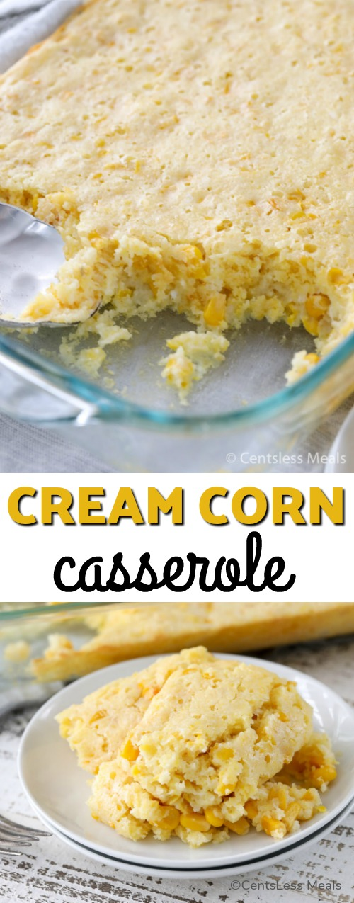 Cream Corn Casserole is a bright and delicious side dish that is so easy to make! Loaded with sweet corn and corn muffin mix, this soft tender bread-like casserole is going to be a family favorite! #SideDish #Corn #MuffinMix