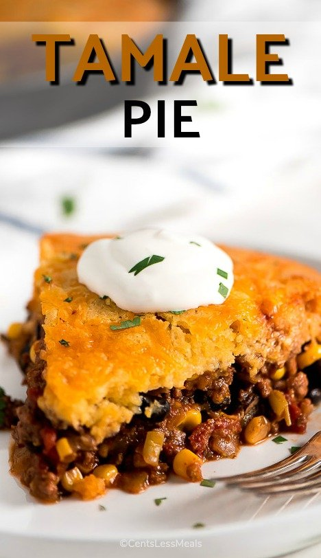 Tamale Pie is a delicious, sweet and savory, comforting meal that is loaded with meat, beans, cheese, and veggies with cornbread on top. It's sure to be a family favorite! #EasyRecipe #OneDishMeal #GroundBeef