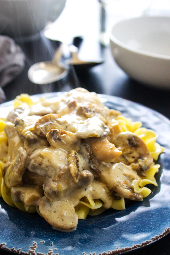 Creamy Chicken and Mushroom Casserole is a delicious and easy dish. Chicken and mushrooms, all smothered in a creamy garlic sauce and served over noodles or rice makes the perfect weeknight meal!