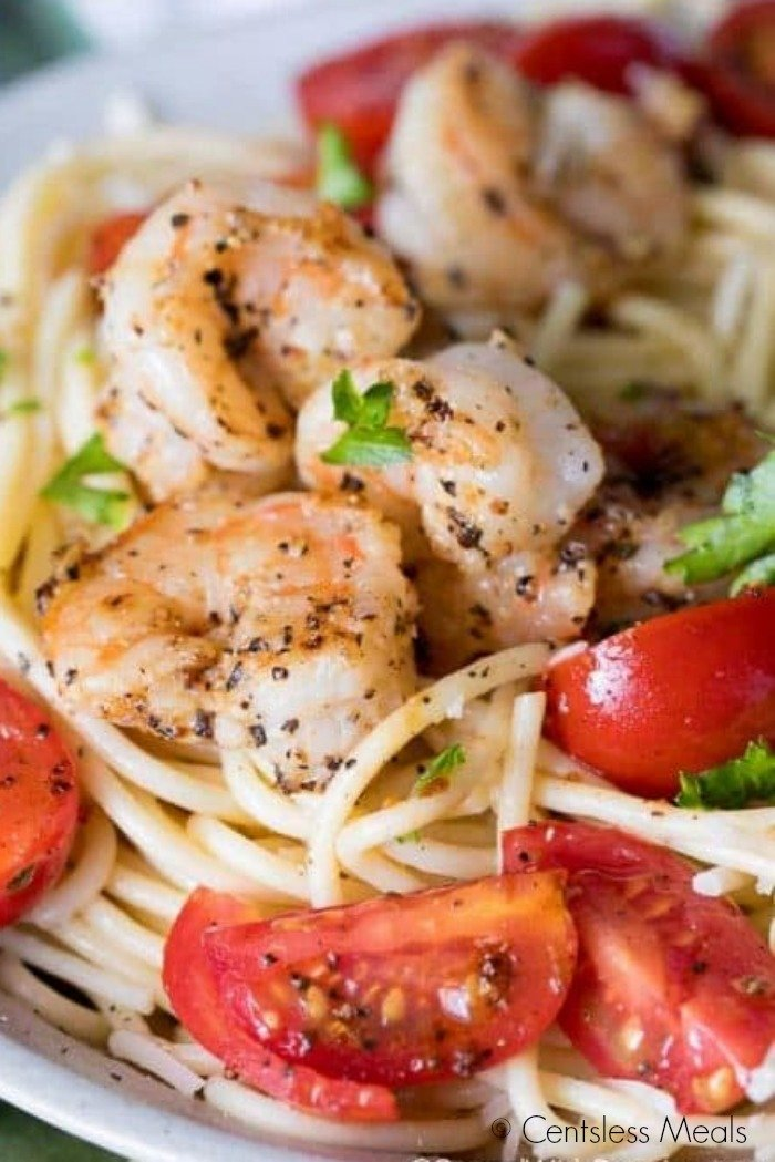 Garlic Shrimp Pasta on a white plate