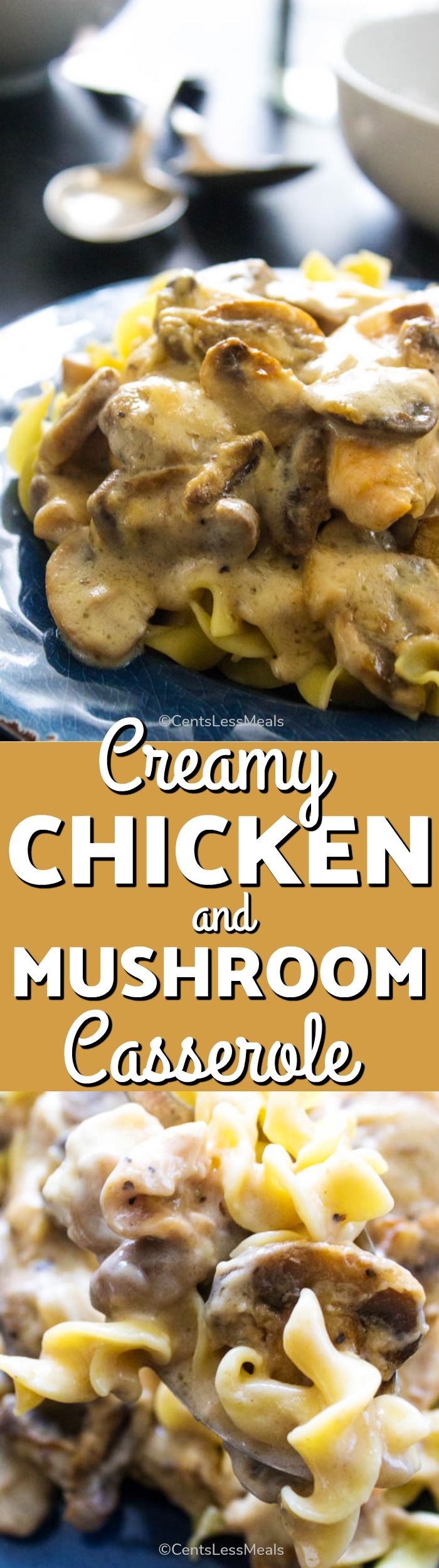 This Creamy Chicken and Mushroom Casserole is an easy weeknight dinner. It is saucy, creamy and full of chicken and mushrooms - a meal the entire family will love. #EasyRecipe #Casserole #CreamyCasserole #Chicken #Homemade #WeeknightMeal