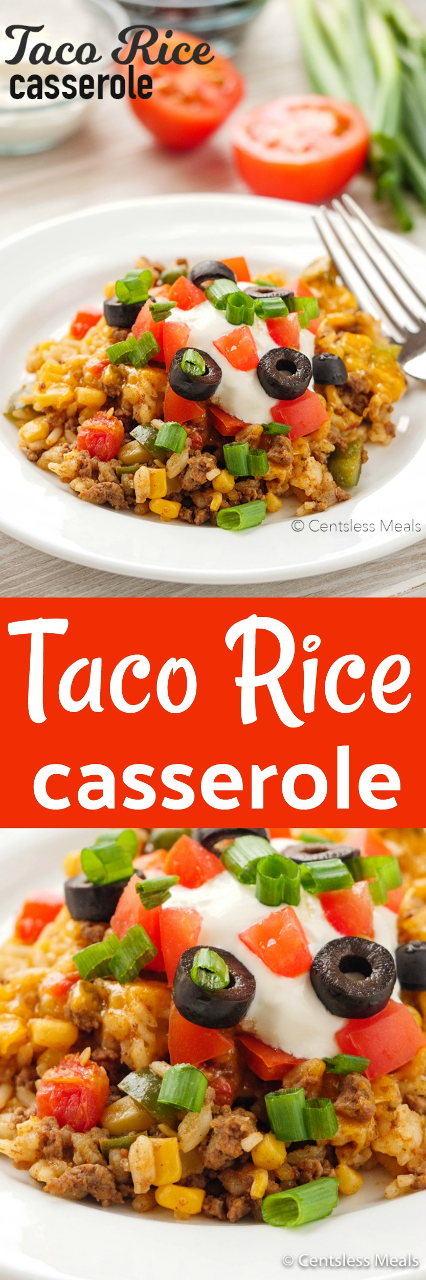 This Easy Taco Casserole is a super easy to make meal idea using taco inspired ingredients such as spicy beef, rice, tomatoes, mexicorn, salsa and topped with loads of cheese. #Easyrecipe #4stepdinner #tacobake #Fresh #Homemade