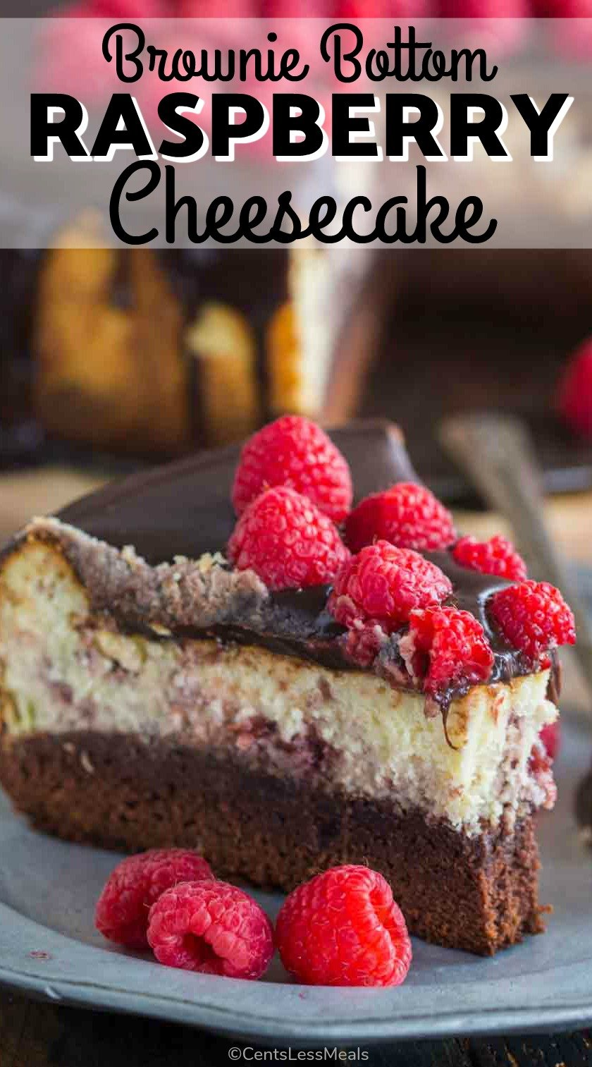 Brownie Bottom Raspberry Cheesecake is a sinful combination of chocolate and creamy raspberry cheesecake topped with chocolate ganache. #cheesecake #cheesecakewithfruit #brownie #dessert #easydessert #raspberry #censtlessmeals