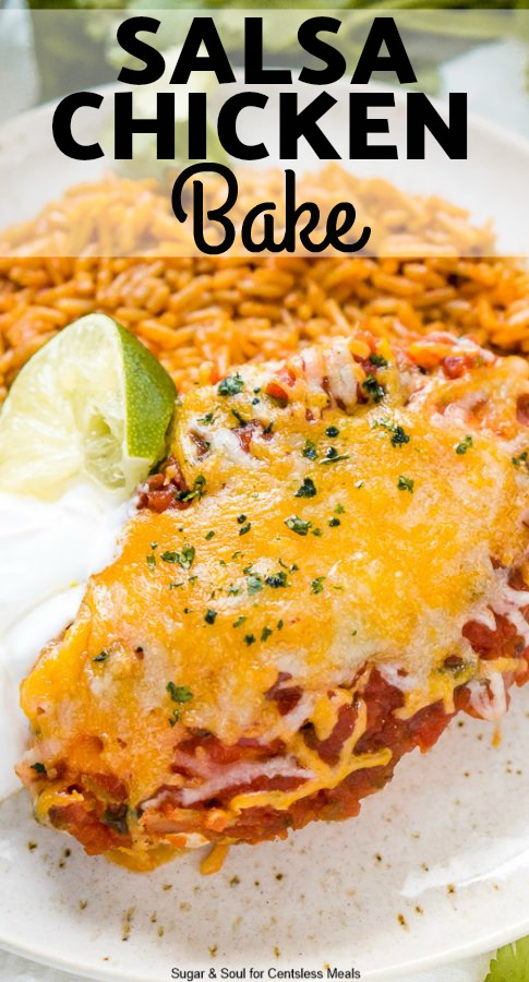 This Salsa Chicken Bake is a no-fuss and downright delicious weeknight meal! And the best part is there are only 4 ingredients - chicken, taco seasoning, salsa and cheese! #easydinner #nofuss #chicken #tacochicken #cheesychicken #weeknightmeal #salsa