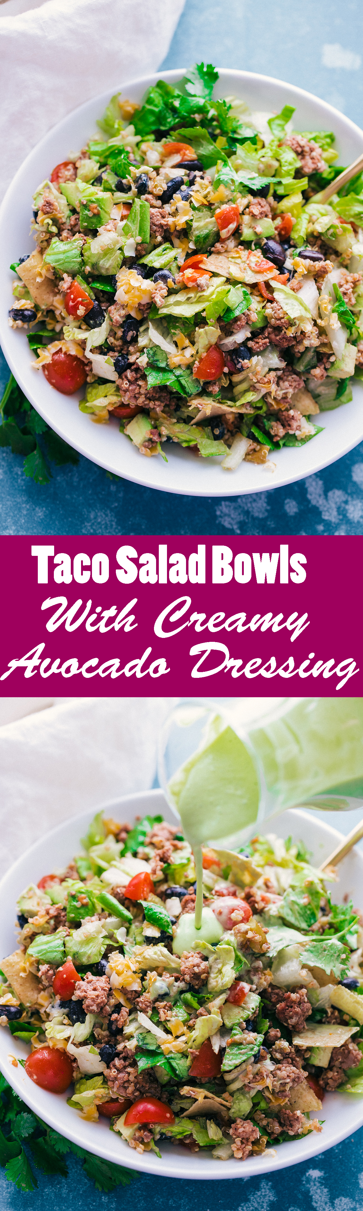 Taco Salad Bowls with Creamy Avocado Dressing are the perfect way to enjoy a taco and salad all in one. Loaded with all the fixings and topped with a delicious Creamy Avocado Dressing. #EasyRecipe #SaladBowl #Taco #Tacos #Fresh #Homemade #Avocado