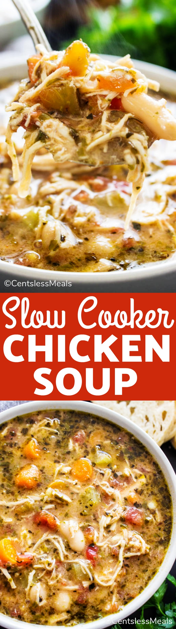 This Slow Cooker Chicken Soup is so easy to make! Loaded with carrots, celery, onion, garlic, tomatoes and cannellini beans this wholesome and filling soup is insanely delicious. #centslessmeals #slowcookermeals #easyrecipe #chickensoup #vegetablesoup #nutritiousrecipe #healthyeating
