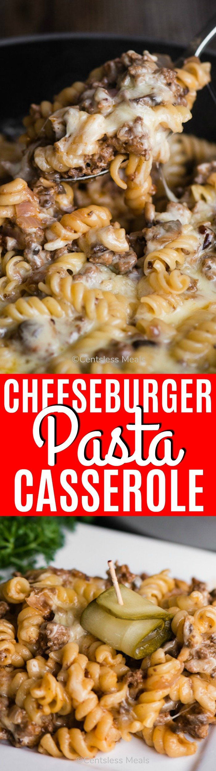 Cheeseburger pasta casserole on a plate and in a pan with a title