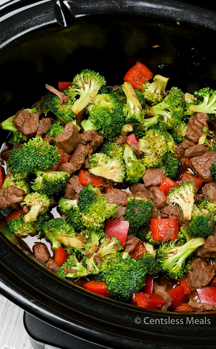 Slow cooker beef and broccoli in a slow cooker