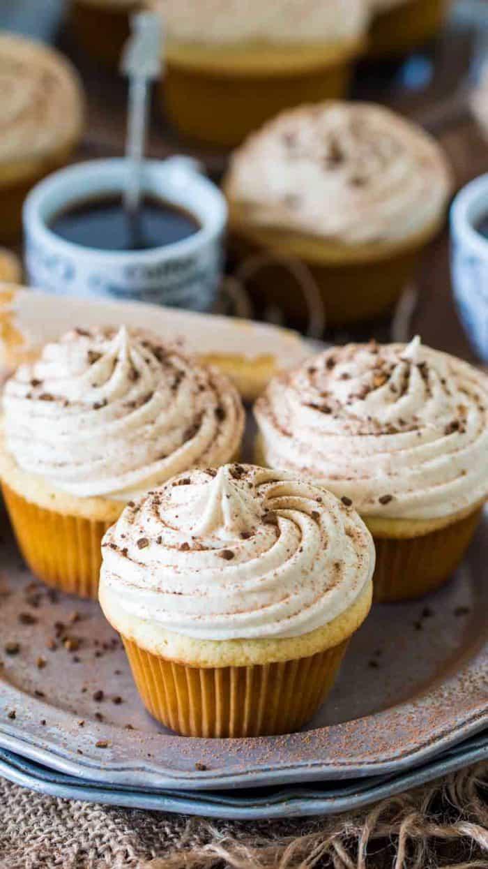 Tiramisu Cupcakes served on a plate.