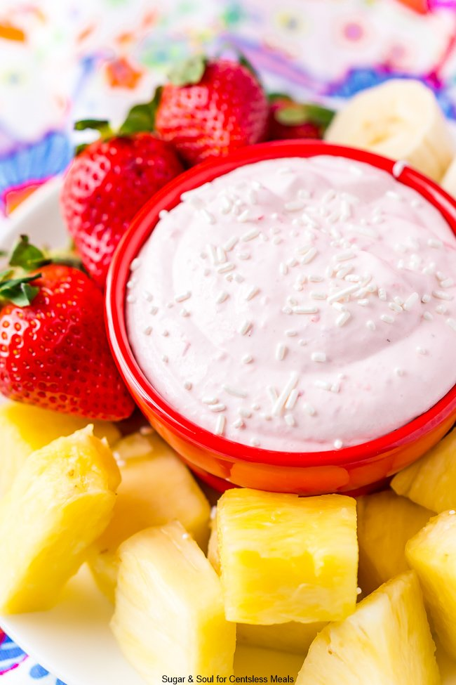 Strawberry Dip in Red Bowl with Fresh Fruit