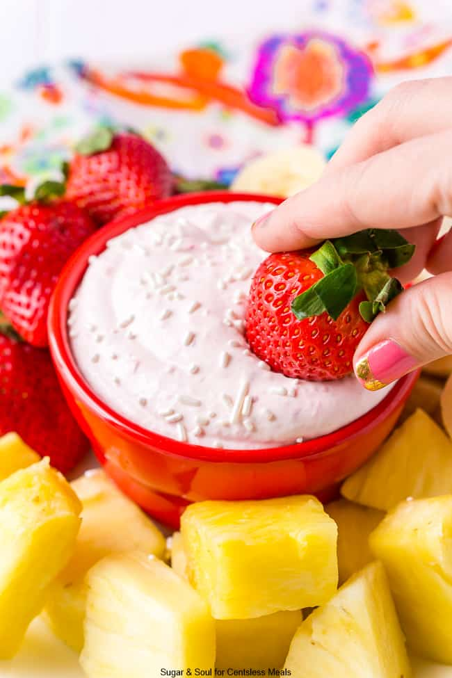 Fresh Strawberry Dipped in Bowl of Strawberry Fruit Dip