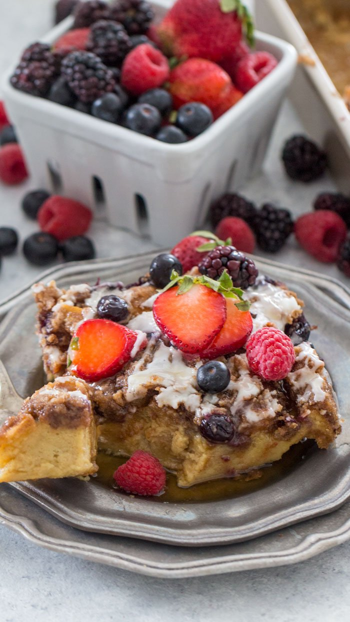 A single serving of French Toast Bake served with fresh berries.