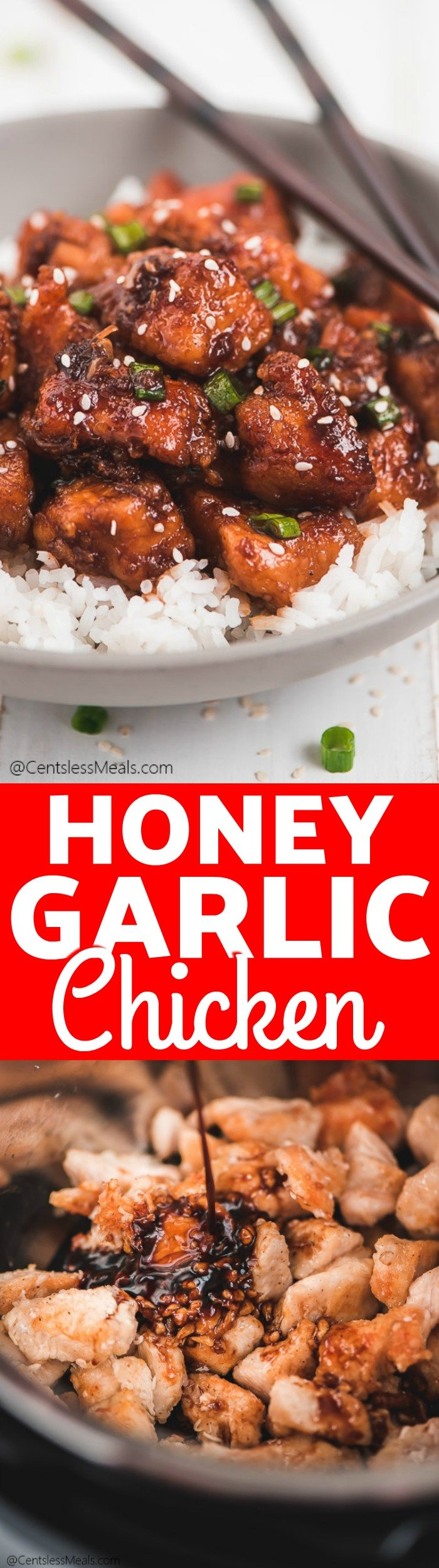 This Instant Pot Honey Garlic Chicken is a delicious and easy asian inspired recipe. Juicy chicken is sauced with a mixture of honey, soy sauce, minced garlic, and for some heat - sriracha sauce. It is a flavor explosion in every bite! #centslessmeals #chicken #instantpot #honeygarlic #asian #easyrecipe #quickmeal #maincourse