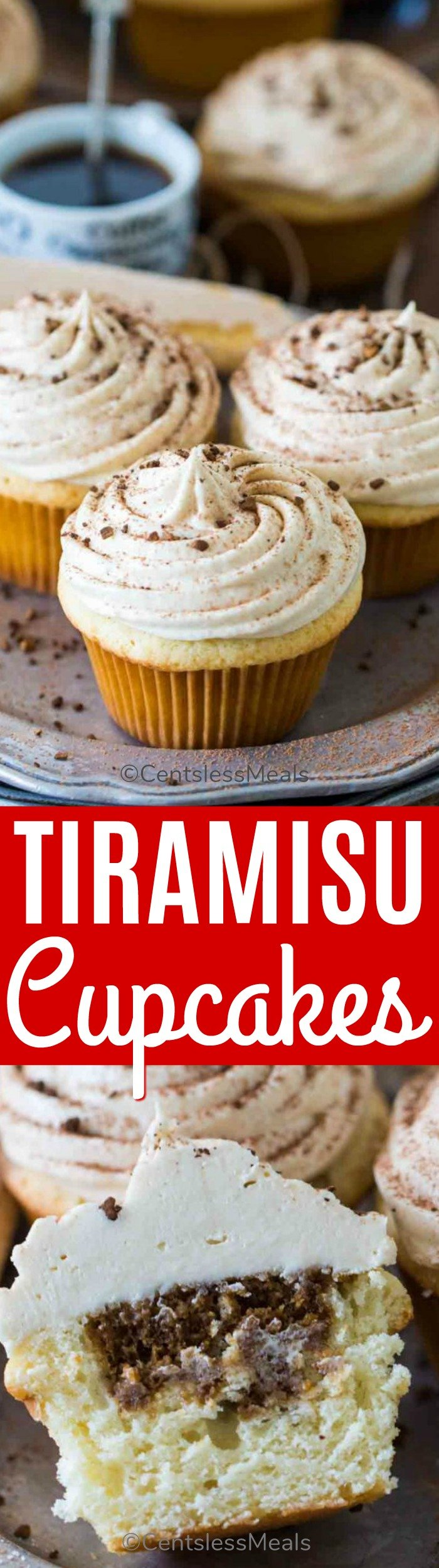 Tiramisu cupcakes on a plate and one cut in half with a title