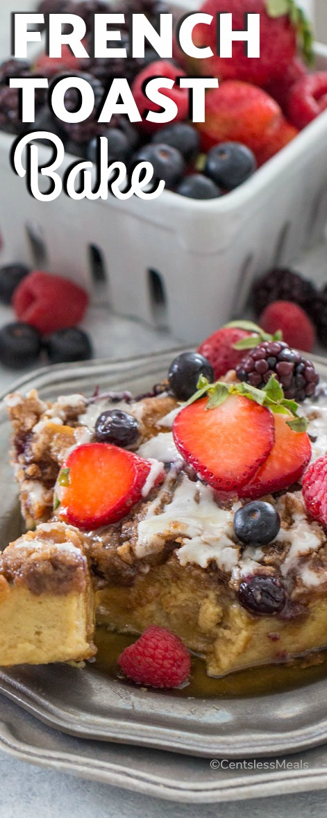 French Toast Bake on a plate with berries and a title