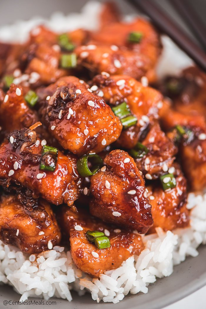 Close up of Instant Pot Honey Garlic Chicken over rice.