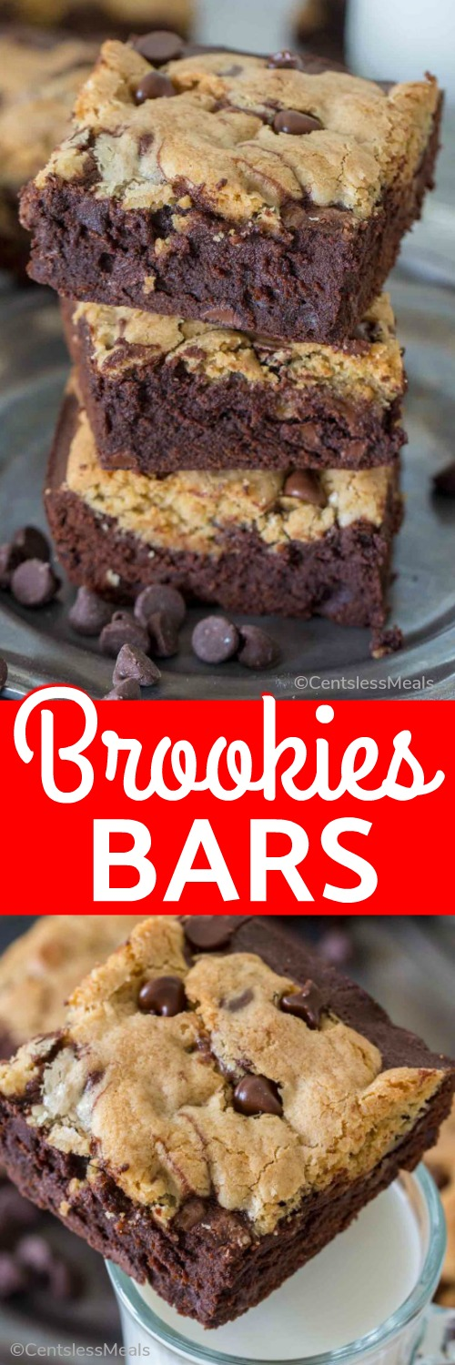 Brookies bars on a plate and with a cup of milk and a title